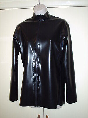 Jet Black Zip Up Long Sleeve Latex Rubber Shirt Jacket Size  40 Inch Chest
