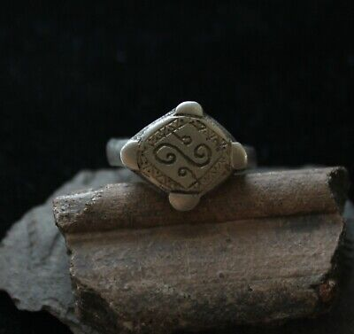 Ancient Medieval Viking silver ring with runic ornament
