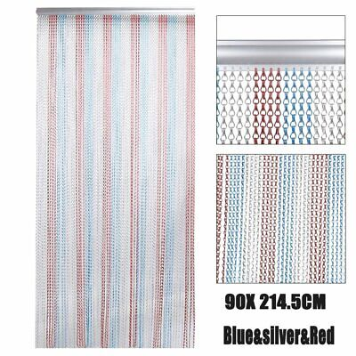 Metal Aluminium Chain Link Fly Pest Insect Door Screen Curtain Red Blue SH