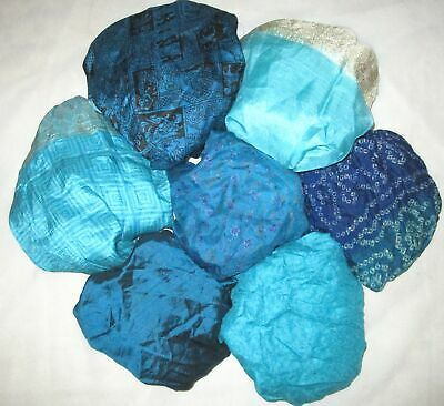 UK LOT PURE SILK Vintage Sari REMNANT Fabric 7 Pcs 1 foot ech Blue #ABCSE
