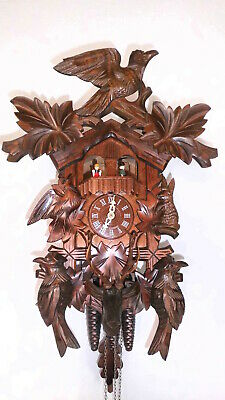 large vintage original black forest musical cuckoo clock 3 weights 2 melodie