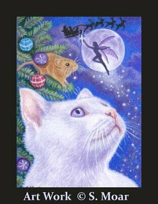 Cat Mouse Fairy Moon Stars Christmas Magic ACEO Original Art Painting OOAK