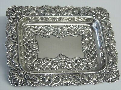 Antique Victorian Solid Sterling Silver Pin Tray Charles E Nixon Sheffield c1897