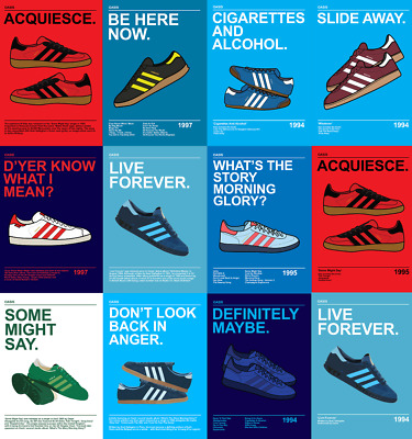OASIS Adidas Manchester Casual Posters A4, A3, A2 High Quality + Glossy 200gsm