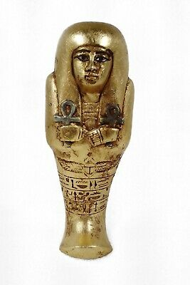 Egyptian Antique Golden Ushabti Shabti Statue Servant Funerary Hieroglyphic