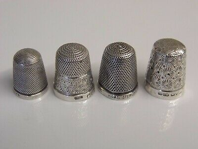 Four Antique Hallmarked Solid Sterling Silver thimbles - Charles Horner