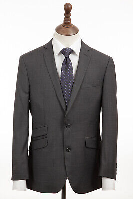 Mens Suit Gibson 2 piece Tailored Fit Wool Charcoal Grey