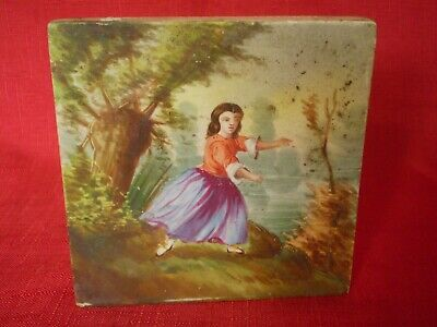Stunning Antique Hand Painted Tile, Girl On Riverbank Dancing