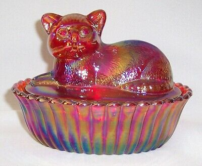 Westmoreland Red Carnival Glass Cat Covered Dish