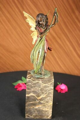 Bronze Sculpture Statue Mythical Fairy Handmade Marble Base Figure Figurine Deal