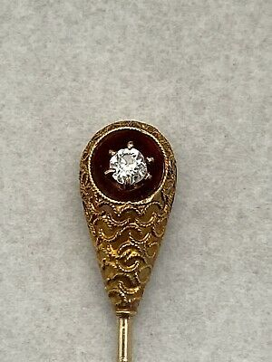 Antique 14k yellow gold Victorian Etruscan Revival old mine diamond stick pin