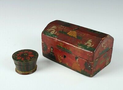 2 Early 1800'S Wooden Primitive Painted Folk Art Boxes