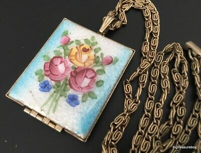 Vtg ANTIQUE Necklace Victorian Art Deco GUILLOCHE Enamel Flower Picture Locket