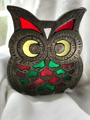 """Vintage Footed Cast Iron Metal Stained Glass Owl Trivet Wall Hang Art 5"""""""