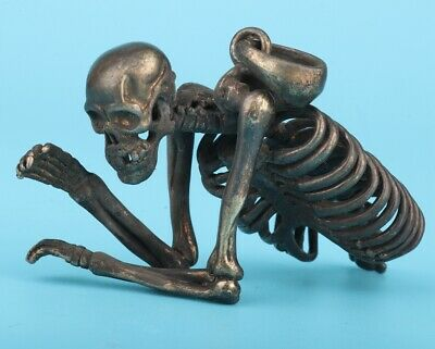 Antique Chinese Copper Tibet Silver Pendant Statue Skeleton Exorcism Collection