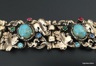 Vtg ANTIQUE Victorian or Art Deco Bracelet Faux Turquoise Rhinestone Tennis