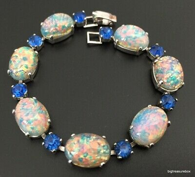 Vtg ANTIQUE Victorian or Art Deco Bracelet Opalescent Blue Rhinestone Tennis