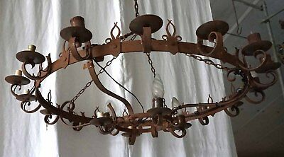 """French Large Ø 47"""" Gothic Revival Wrought Iron Crown Chandelier 20 Light"""