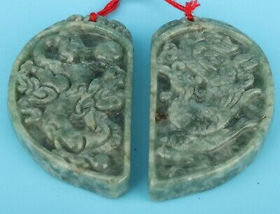 2 Antique Chinese Jade Pendant Hand-Carved Dragon Phoenix Mascot Collection