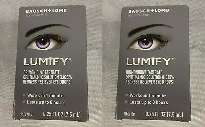 Lot of 2 Bausch + Lomb Lumify Redness Reliever Eye Drops 0.25 Oz Exp. 05/2021^