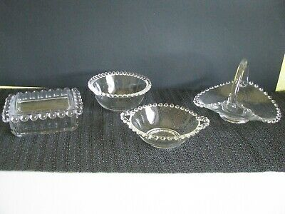 Four Pieces Imperial Glass Candlewick Basket,Cigarette Box, 2 Small Bowls