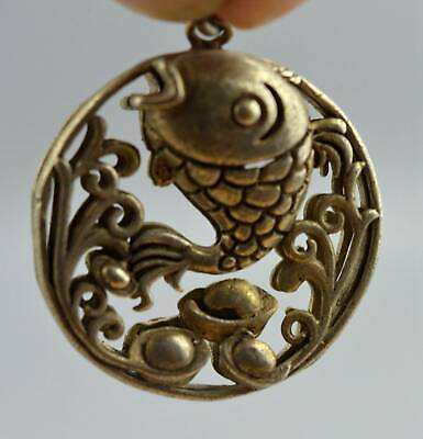 Collectable Handwork Miao SIlver Carving Goldfish Lotus Amulet Souvenir Pendant