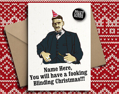 Arthur Shelby Personalised Christmas Card  with Badge ish, Xmas Peaky Blinders