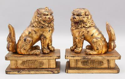 Pair Small Antique Chinese 19thC Qing Gold Gilt Carved Wood Chinese Foo Lions