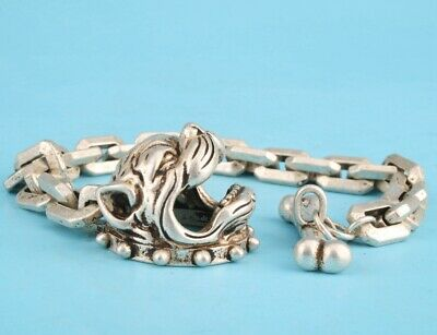 China Tibet Silver Hand Carved Dog Head Bracelet Good Luck Gift Old Collec