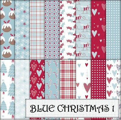 BLUE CHRISTMAS 1 SCRAPBOOK / CRAFT PAPER - 16 x A4 pages.