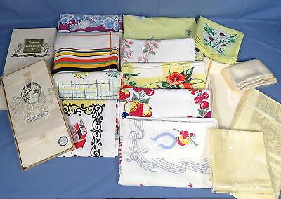 12 VTG Premium Tablecloths,Mixed Lot,4 w/Napkins,No Staining,Gently Used & New