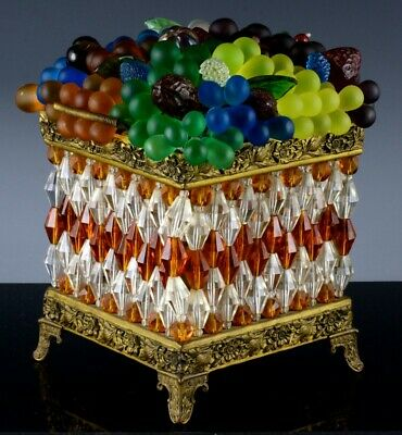 SUPERBc1920 ART DECO CZECH BOHEMIAN CRYSTAL BEADED GLASS FRUIT BASKET TABLE LAMP