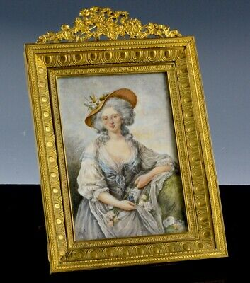 Ex.fine Antique French Miniature Watercolor Beautiful Lady In Gilt Metal Frame