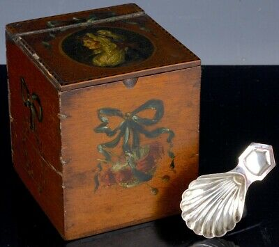 LOVELY 19thC FRENCH HAND PAINTED PORTRAIT WOODEN TEA CADDY BOX w SILVERED SPOON