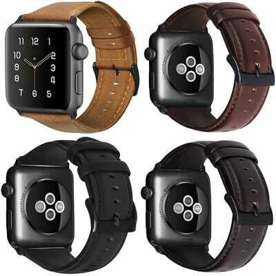 Retro Genuine Leather iWatch Band Men Casual Strap For Apple Watch 5 4 3 38/44mm