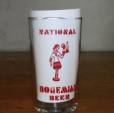 """Early OLD """"NATIONAL BOHEMIAN"""" BEER 4 1/4"""" GLASS w/WAITRESS HOLDING TRAY Motif"""