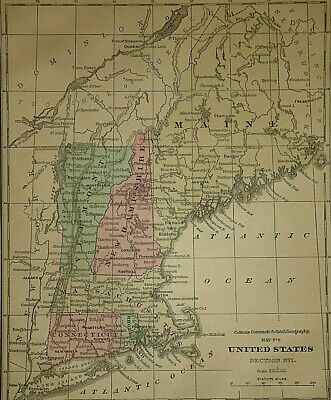 Vintage 1868 NEW ENGLAND MAP Old Antique Original & Authentic ~ Quick N Free