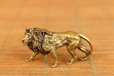 Mini Asian old bronze hand casting lion leo statue figure pendant decoration