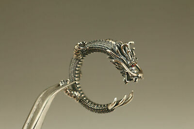 Chinese old 925 silver hand carving dragon ring Exquisite noble gift