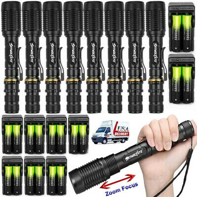 Tactical 50000LM 5Modes T6LED Torch 18650 Zoomable Flashlight Lamp+Charger Light