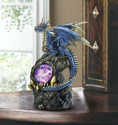 Blue Dragon on Top of Rocks with LED Medallion Statue Figurine Myth Legend Decor