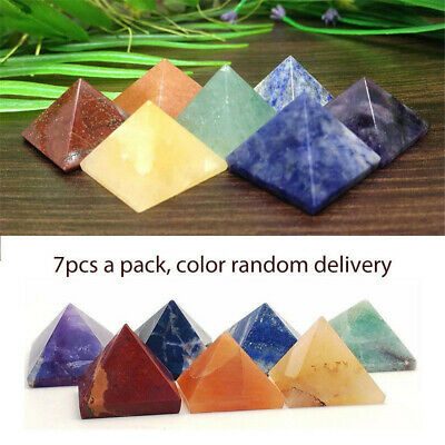 Pack of 7 Chakra Pyramid Stone Set Crystal Healing Wicca Natural Spirituality US