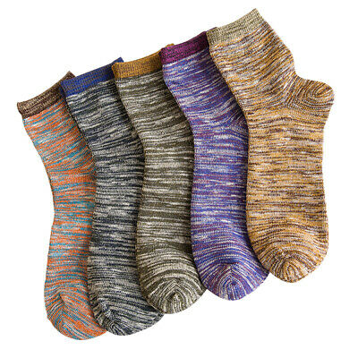 5 Pairs Women Stripe Socks Casual Cotton Vintage Ankle-High Sports Short Gift