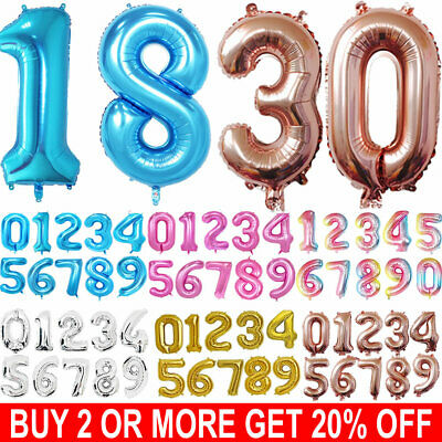 32'' 40'' Giant Foil Number 0-9 Balloons Air/Helium Birthday Age Party Wedding