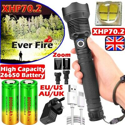 UK High Power 999000LM Flashlight XHP70 XHP50 LED Torch Rechargeable Headlamp