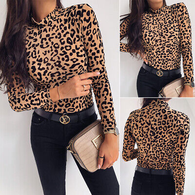 New Women Leopard Print High Collar Long Sleeve Shirt Tops Ladies Loose Blouse