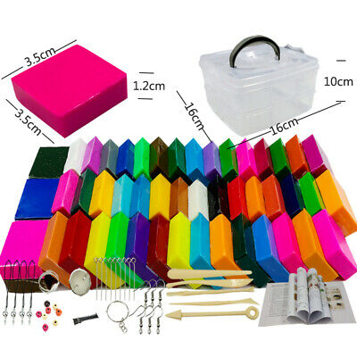 50 Colors Oven Baking Modeling Clay DIY Soft Craft 5 Sculpting Tools Accessories