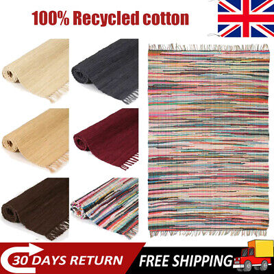 Hand-woven Chindi Rug 100% Cotton Handmade Mat Floor Carpet Multi Colour Size