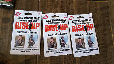 2017 Bullsitoy Amc The Walking Dead Unopened Metal Signs Rise Up Pack Lot 0F 3