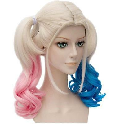 Halloween Cosplay Suicide Squad Harley Quinn Wigs Pink Blue Gradient Hair Wig 00